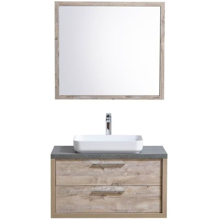 Meuble de salle de bain indiana 90cm lavabo nature wood armoire de rangement meuble lavabo - Meuble salle de bain nature ...