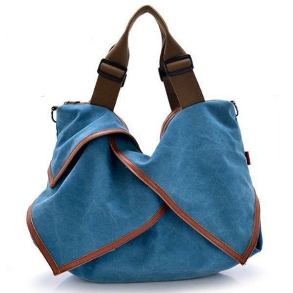 SBBKO2497Toile portable tote sacs à main fleur design épaule Sacs bandoulière sacs big bag Bleu S
