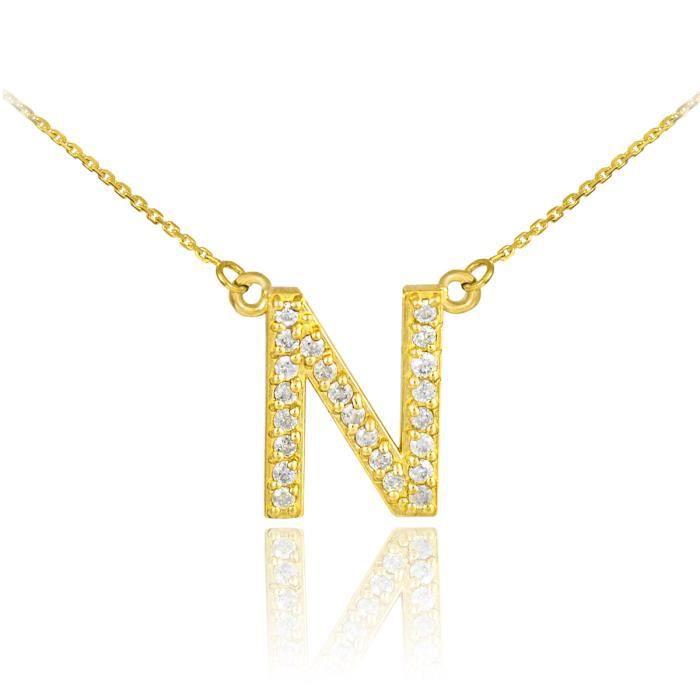 de monogramme de 14 ct Or 585/1000Lettre initiale N Diamants Initial de