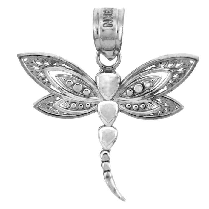 Collier Pendentif14 ct Charms 585/1000 Or BlancLe Collier Pendentifen or blanc Dragonfly (vient avec une Chaîne de 45 cm)