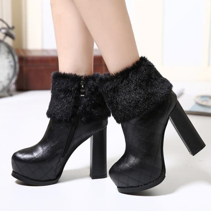 martin boots-Pure Color Haut Talonpais de femmes avec zips lat raux Lacet Bottes BhFMi