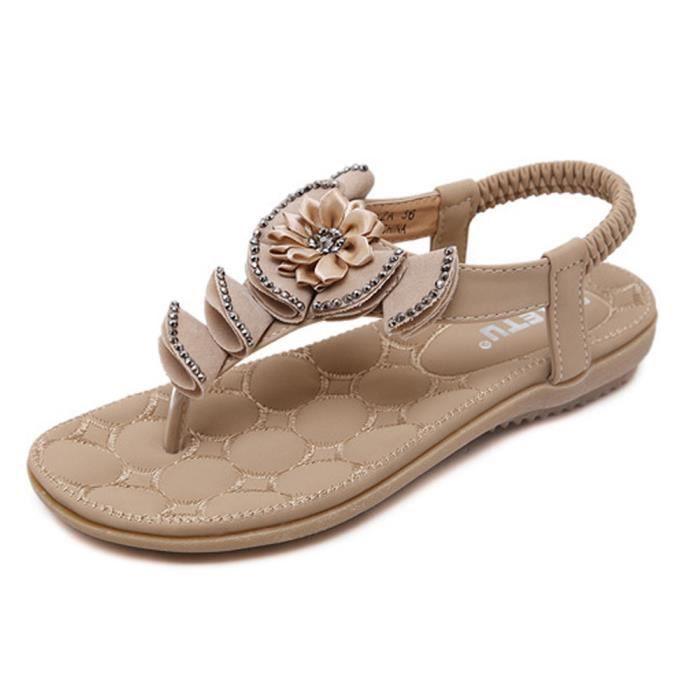 Tomwell Femmes Filles Été Plage Chaussures Bohemian Fleur Strass T Strap Sandales Plat Peep Toe Flip Flops