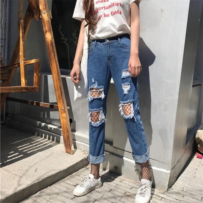f4e618aaaa845 Jeans boyfriend pour les femmes Bottoms pantalons jeans féminins bleu TROUS  SEXY pantalon décontracté pantacourt jean droit lâche