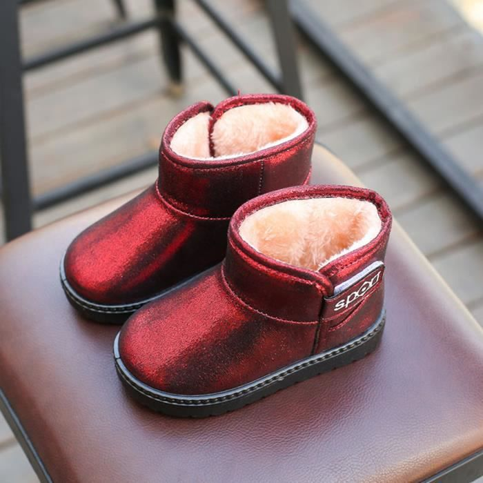 Enfants automne hiver chaud Mode enfants Martin filles occasionnels bottes de neige rouge