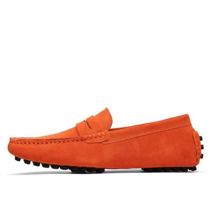Mocassins Hommes Cuir Ultra Comfortable Appartements Chaussures ZX-XZ071Orange45 aXJtPhP