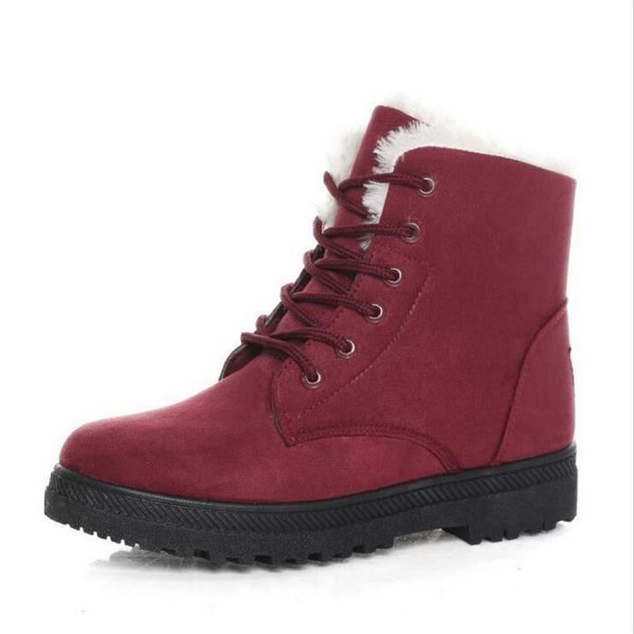 Bottine Femme hiver Durable peluche boots XX-XZ003Rouge-43 JVe5ZAH