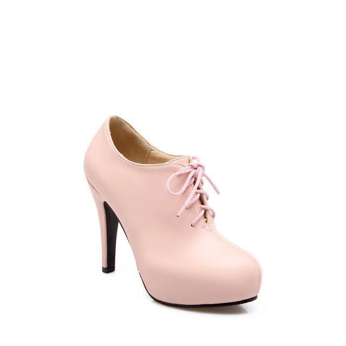 Escarpin Femmes Pompes Mode bout rond solide talon épais lacer Chaussures Brief 3286870 OUGQCeDQFn