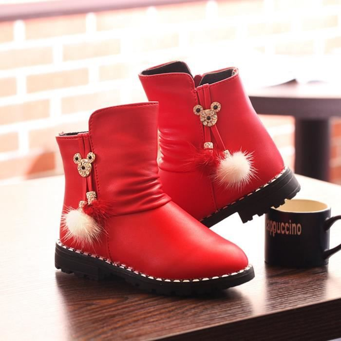 Bottes Les enfants des chaussures de coton en Hiver chaud bottes belle princesse des filles Chaussures fourrées