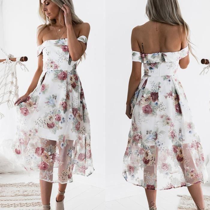 Napoulen®Femmes été hors épaule floral imprimé long maxi robe populaire Multicolore XXP71222362MR
