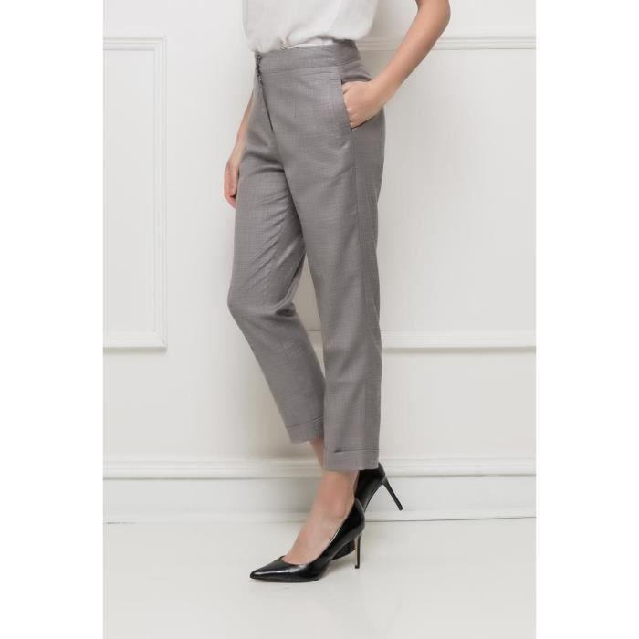 5b5453df2e6b3c Pantalon femme CLASSY élégant coupe droite 7/8 habillé tailleur gris ...