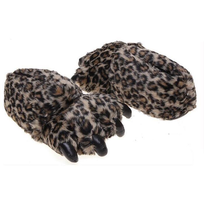 Pantoufles Femme Homme Patte Animal En Peluche Hiver Populaire BJXG-XZ166marron40