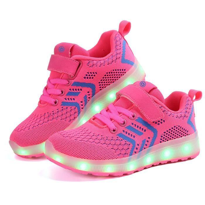 WONZOM® Baskets fille garçon Clignotant lumineux chaussures de sport Chaussures enfants lumières LED taille 25-37
