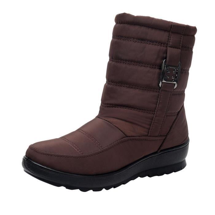 Casual Chaussures Bottes aged Hiver Moyen Bottine Chaud Neige Boot Femme Femmes Marron 8wY87q0