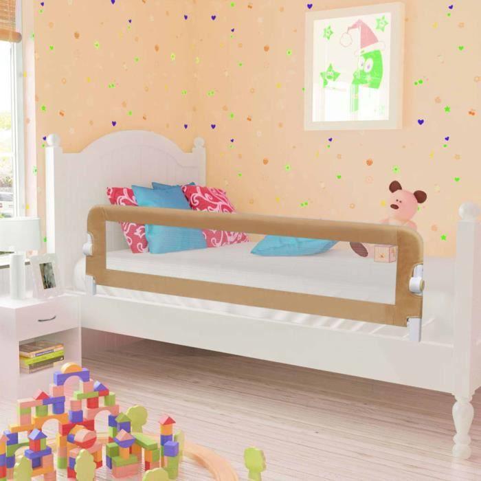 BARRIÈRE DE LIT BÉBÉ Barrière de lit enfant Taupe 150x42 cm Polyester