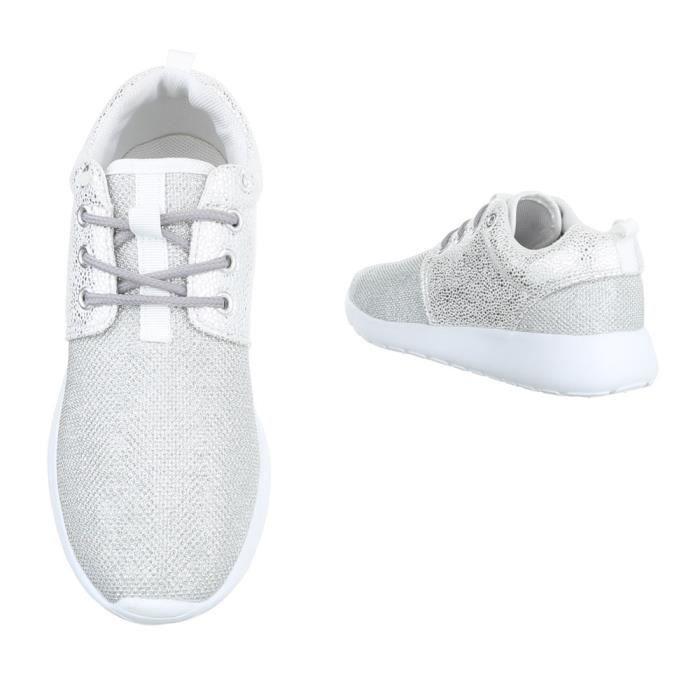 Femme chaussures loisirs chaussures Sneaker Chaussures de sport argent 40