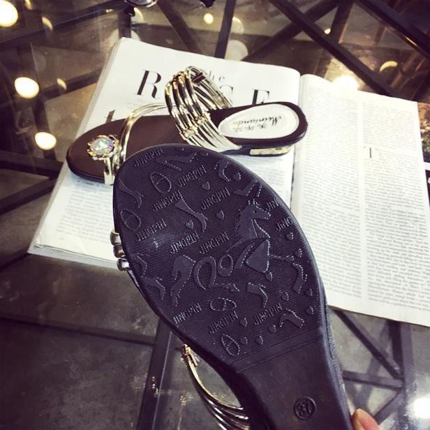 Flop Or D'été Sandales Strass Plat Talon Les Plates String Femmes Flip Chaussures wvPOaq