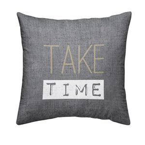 TODAY Coussin déhoussable Chambray Coton TAKE TIME - 40x40cm