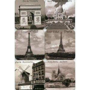 SOUS-VERRE - BOUTEILLE  SOUS-VERRES - MONUMENTS DE PARIS EN NOIR ET BLANC