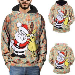 009d80fadb257 Hommes 3D Imprimé Pull de Noël à manches longues Sweat à capuche Tops  Chemisier Multi couleur