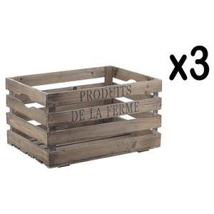 CASIER POUR MEUBLE Lot de 3 caisses en bois, inscription produits de