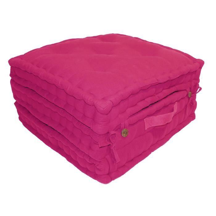 Enveloppe : 100% toile de coton - Garnissage : 100% coton - Dimensions : 60x60x180 cm - Coloris : fuchsiaCOUSSIN DE SOL - MATELAS DE SOL