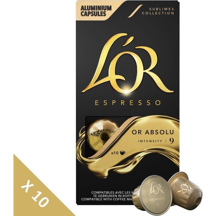 L'OR ESPRESSO Café Or Jaune Intensité 9 - 10 paquets de 10 capsules Compatibles Système Nespresso®