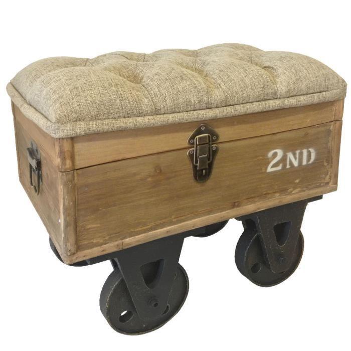 coffre pouf sur roulettes style industriel achat vente armoire de chambre coffre pouf sur. Black Bedroom Furniture Sets. Home Design Ideas