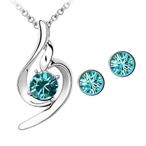 Womens 18k White Gold Plated Blue Austrian Crystal Lucky Angel Pendant Set ForSU7ZK