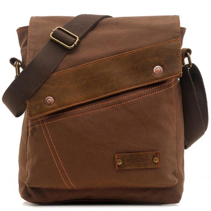sac de voyage Épaule Vintage Sac en toile Hommes cuir Sacs école Satchel Packs affaires Sac Pack Loisirs Crossbody-1461