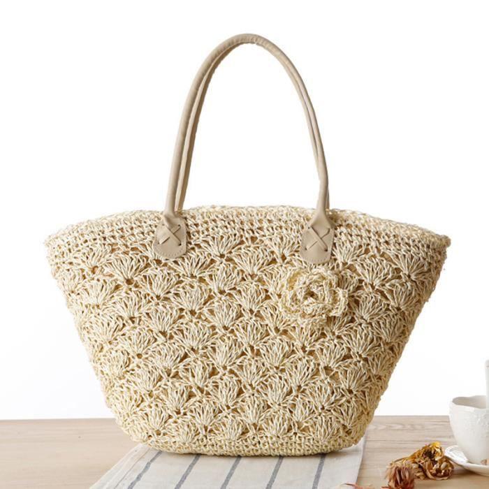 sac à mainGrand Sac Zipper tissé paille Big épaule Casual Femmes Fleurs Mode Femmes Sac fourre-tout-2559