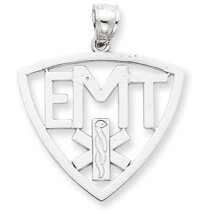 Or blanc 14 carats Pendentif symbole EMT-Dimensions :30 x 25 mm