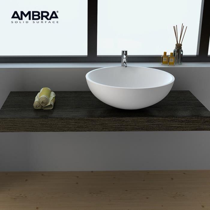 LAVABO - VASQUE Vasque à poser ronde 50 cm en composite blanc - Bo