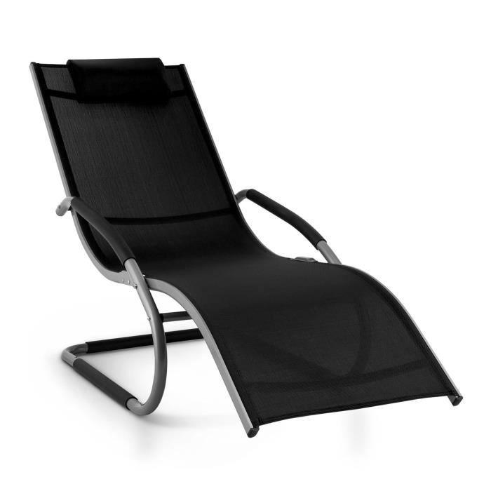 Blumfeldt Sunwave Chaise Longue De Jardin Avec Accoudoirs Transat Cadre En Aluminium Et Effet Bascule