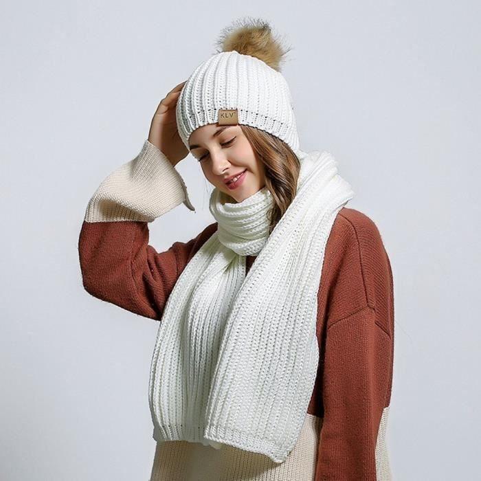 975eb924be9 Femmes Filles Laine Slouchy Tricoté Bonnet Chapeau D hiver Écharpe ...