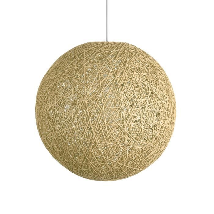 Abat Jour Moderne pour Suspension Ballon de 30 cm en Osier Tressé Crème  Adapte pour Douille de 42 mm avec bague de réduction