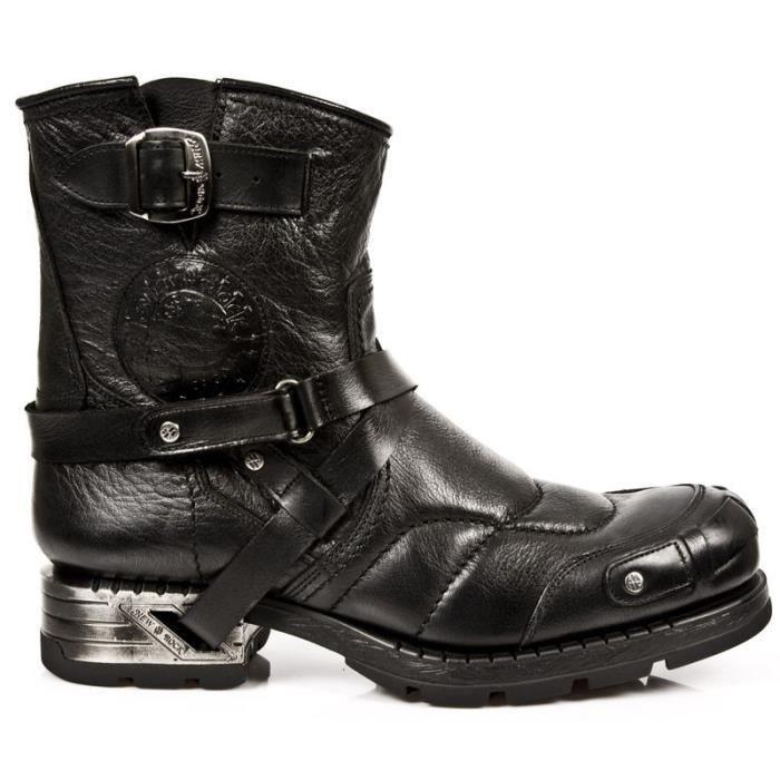 Bottines biker cuir New Rock M.MR004-S1