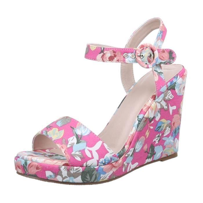 Femme sandalette chaussure semelle à talon compensé Wedges escarpin rose vif Multi