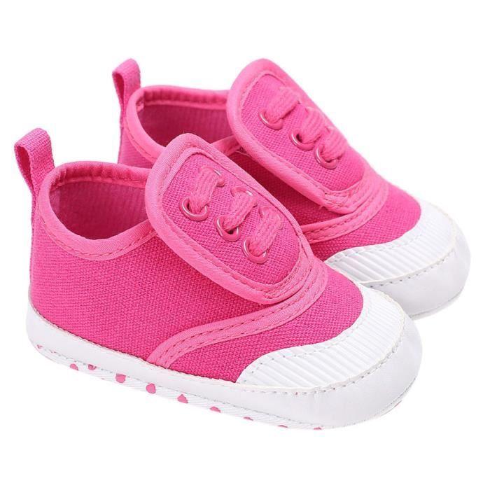 Bébé Chaussures garçon fille nouveau-né berceau semelle douce espadrilles chaussures Rose vif