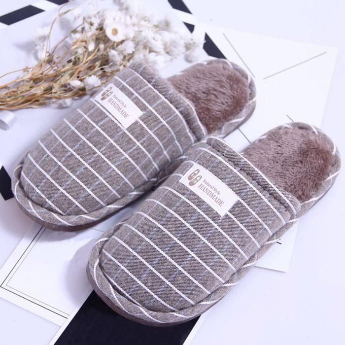 Pantoufles chaudes d'intérieur de la bande d'hiver de femmes rayant les chaussures molles antidérapantes Gris XKO442