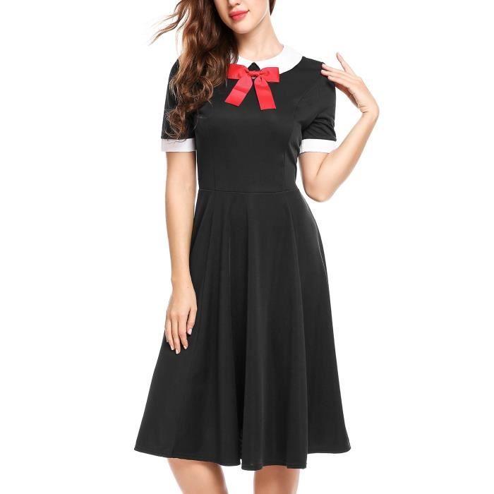 e150738ca86 Manches courtes femmes Vintage Une ligne col claudine Swing Robe plissée  PUOLZ Taille-34