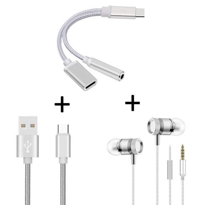 Oem - Pack Pour Asus Zenfone 5 (adaptateur Type C/jack Cable Chargeur Metal C Ecouteurs Metal) (