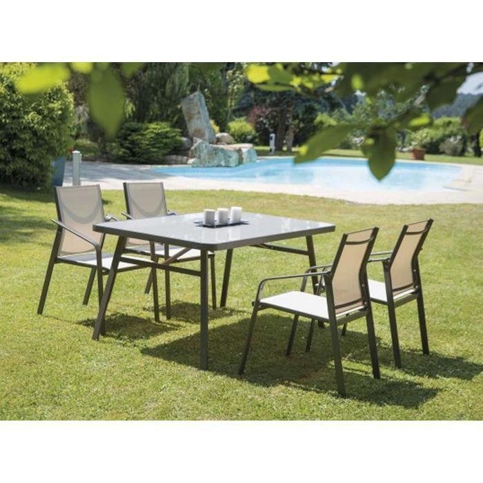 Table jardin metal rectangulaire - Achat / Vente pas cher