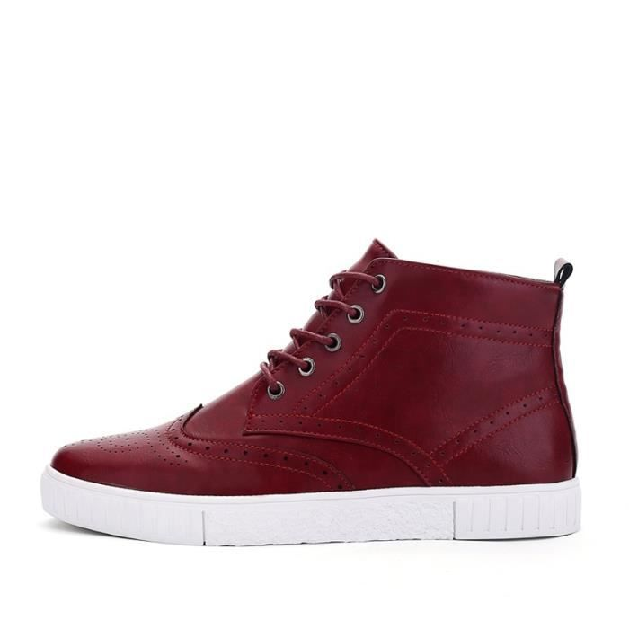 Botte Homme Casual Mocassins stretch antidérapanterouge taille44