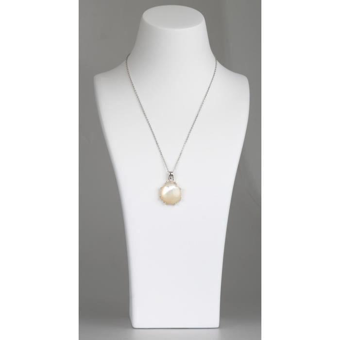 Pendentif-Argent 925 K-Femme-Nacre-Blanc-Monture branche de coraux-Dimension 30 mm X 20 mm