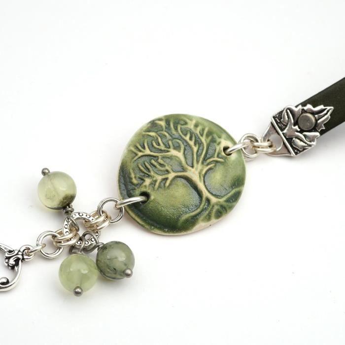 Plus Size femmes en céramique verte et cuir arbre Bracelet avec perles Prehnite 8 1-4 pouces de long YKG15