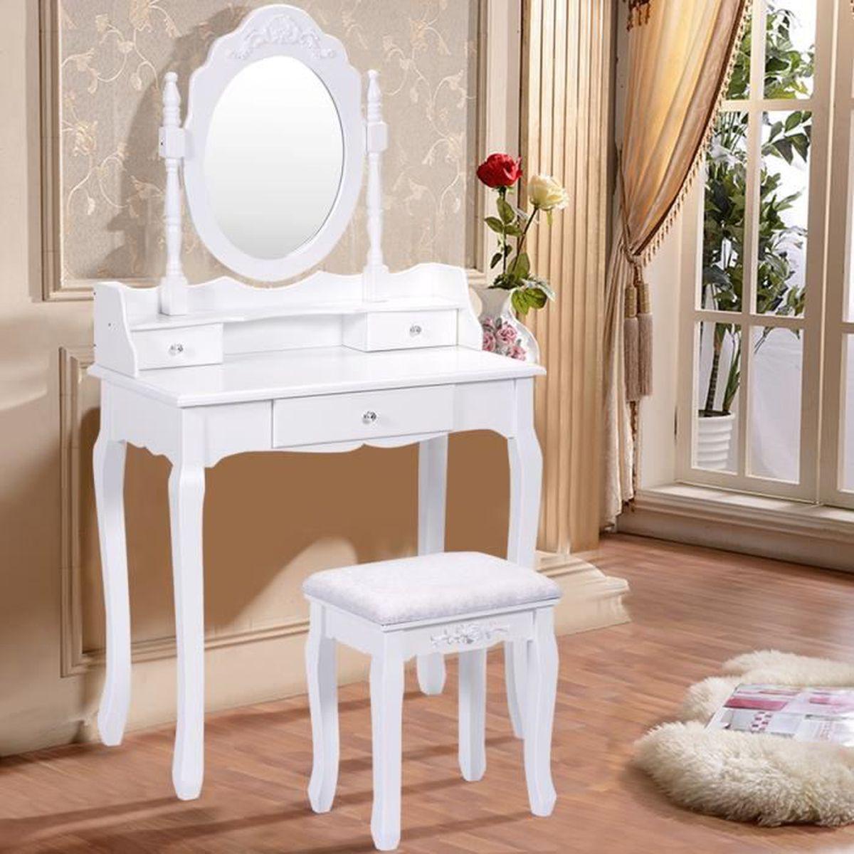 Coiffeuse tabouret avec miroir table de maquillage chambre 3 tiroirs blanc mdf achat vente - Miroir de chambre ...