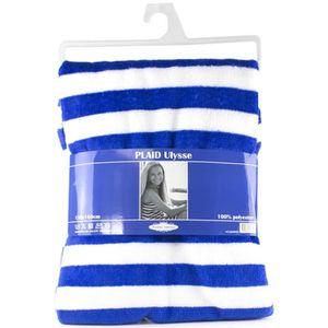 PAVILLON D'INTERIEUR Plaid rayé Ulysse 130x160 cm bleu