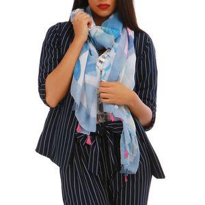 188b0088acf39 Foulard bleu coquillages-TU U Bleu - Achat   Vente echarpe - foulard ...