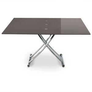 TABLE BASSE Table basse relevable Carrera XL Gris foncé laqué