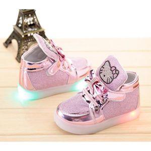 New European Fashion éclairé LED Enfants Kitty Basket Lumineux Clignotants Chaussures de Sports Baskets GuSQSIT